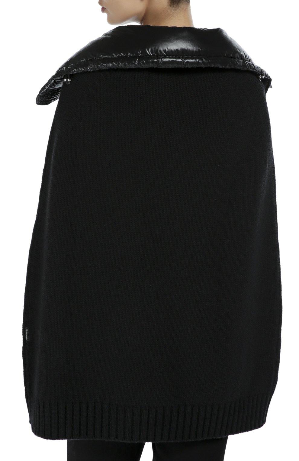 Шерстяная накидка с утепленным высоким воротником Moncler черная | Фото №4