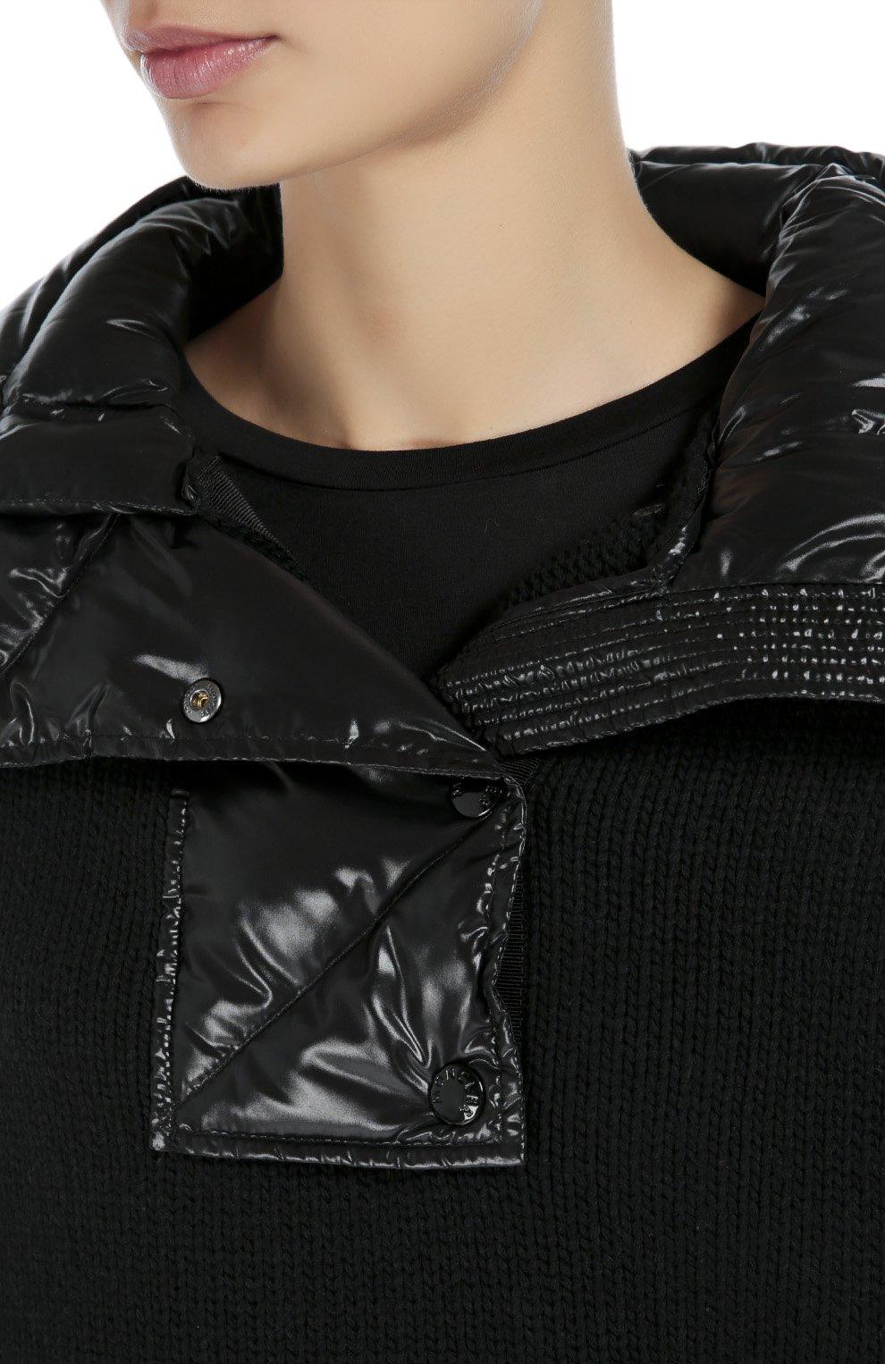 Шерстяная накидка с утепленным высоким воротником Moncler черная | Фото №5
