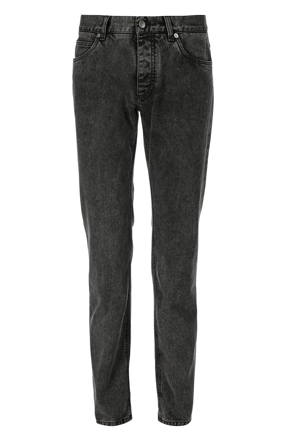 Зауженные джинсы с нашивкой | Фото №1