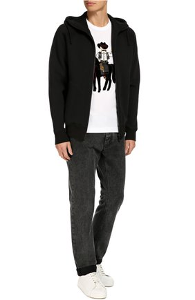 Зауженные джинсы с нашивкой Dolce & Gabbana темно-серые | Фото №2