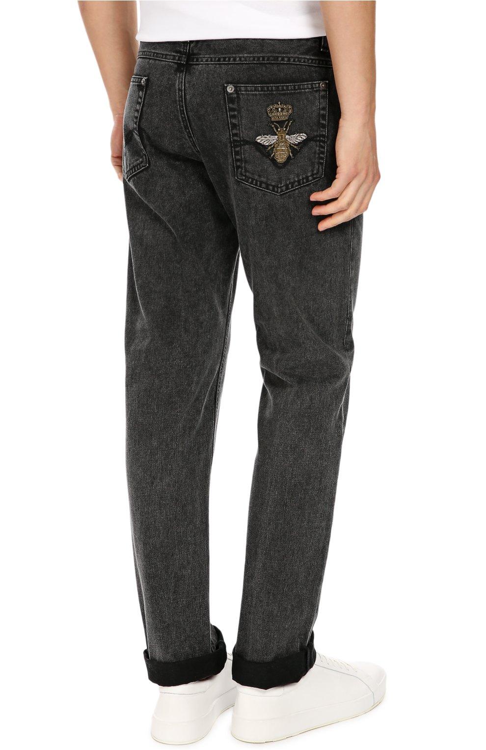 Зауженные джинсы с нашивкой Dolce & Gabbana темно-серые | Фото №4