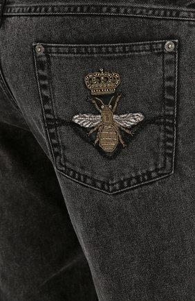 Зауженные джинсы с нашивкой Dolce & Gabbana темно-серые | Фото №5