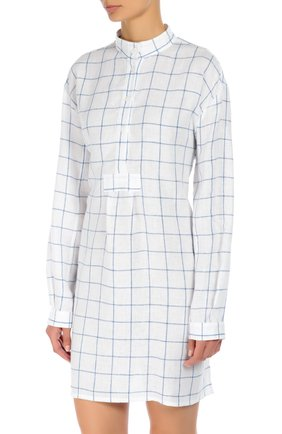 Хлопковая домашняя блуза в клетку The Sleep Shirt синяя | Фото №1