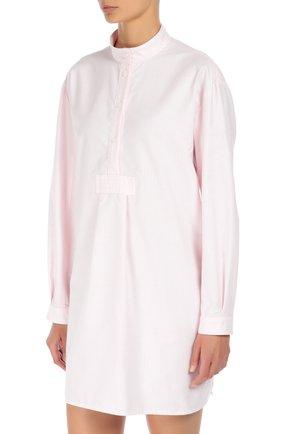 Хлопковая домашняя блуза в полоску The Sleep Shirt розовая | Фото №1