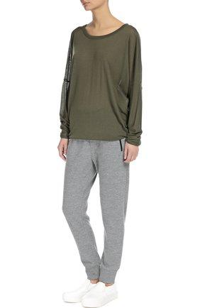 Полупрозрачный кашемировый пуловер свободного кроя с круглым вырезом Back Label хаки | Фото №1