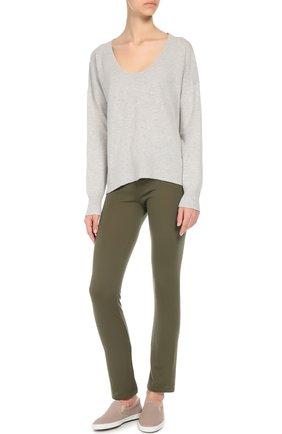 Кашемировые брюки с эластичным поясом и накладными карманами Back Label хаки | Фото №1