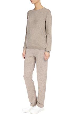 Кашемировые брюки с  эластичным поясом Back Label бежевые | Фото №1