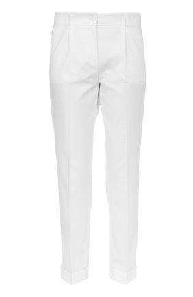 Хлопковые брюки прямого кроя со стрелками Dolce & Gabbana белые | Фото №1