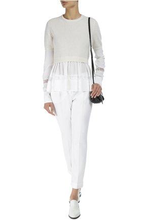 Хлопковые брюки прямого кроя со стрелками Dolce & Gabbana белые | Фото №2