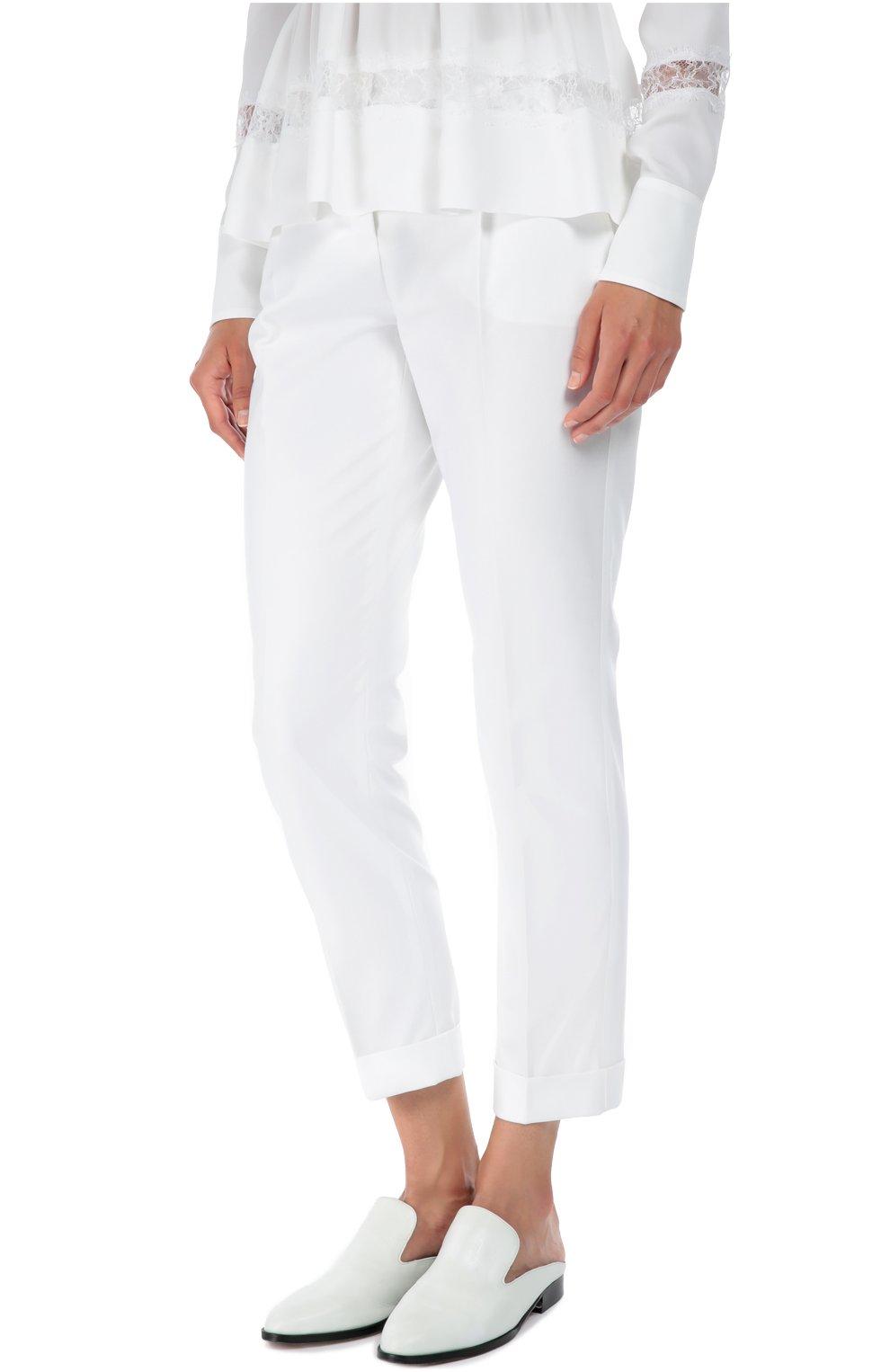 Хлопковые брюки прямого кроя со стрелками Dolce & Gabbana белые | Фото №3