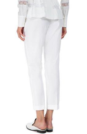 Хлопковые брюки прямого кроя со стрелками Dolce & Gabbana белые | Фото №4