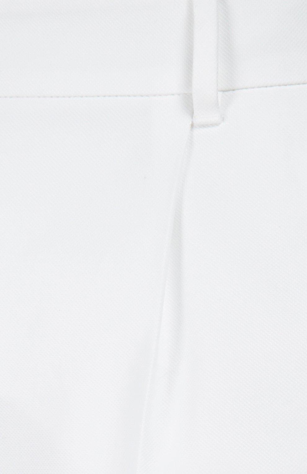 Хлопковые брюки прямого кроя со стрелками Dolce & Gabbana белые | Фото №5