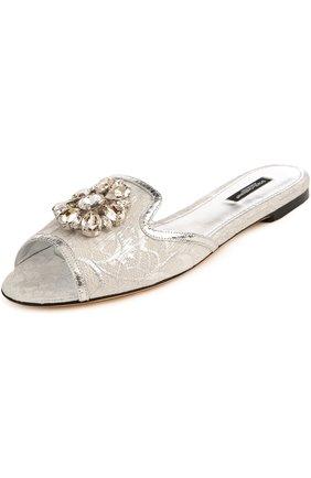 Кружевные шлепанцы Bianca с брошью Dolce & Gabbana серебряные | Фото №3