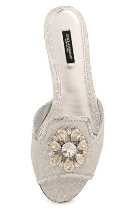 Кружевные шлепанцы Bianca с брошью Dolce & Gabbana серебряные | Фото №5