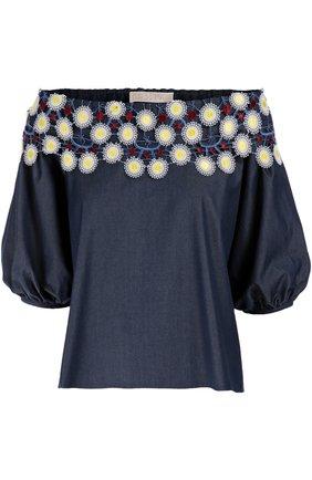 Топ свободного кроя с открытыми плечами и контрастной цветочной отделкой Peter Pilotto голубой | Фото №1