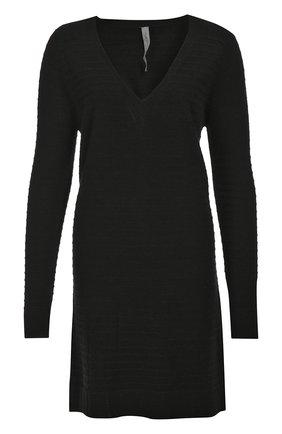 Шерстяное платье фактурной вязки с V-образным вырезом | Фото №1