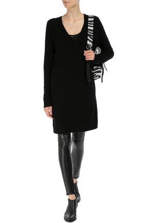 Шерстяное платье фактурной вязки с V-образным вырезом Raquel Allegra черное | Фото №1