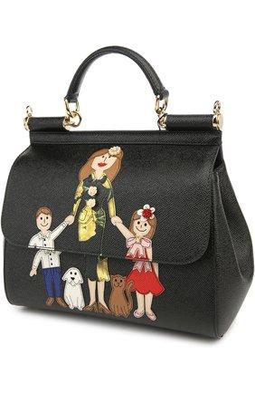 Сумка Sicily medium new с аппликацией DG FAMILY Dolce & Gabbana черная цвета | Фото №4