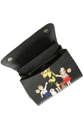 Сумка Sicily medium new с аппликацией DG FAMILY Dolce & Gabbana черная цвета | Фото №5