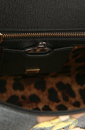 Сумка Sicily medium new с аппликацией DG FAMILY Dolce & Gabbana черная цвета | Фото №6