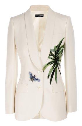 Приталенный жакет с шелковой аппликацией и декоративной отделкой Dolce & Gabbana белый | Фото №1