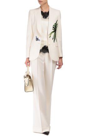 Приталенный жакет с шелковой аппликацией и декоративной отделкой Dolce & Gabbana белый | Фото №2