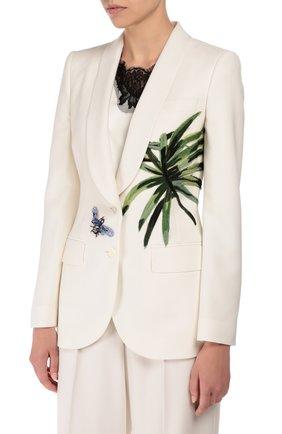 Приталенный жакет с шелковой аппликацией и декоративной отделкой Dolce & Gabbana белый | Фото №3