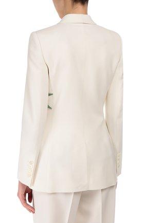 Приталенный жакет с шелковой аппликацией и декоративной отделкой Dolce & Gabbana белый | Фото №4