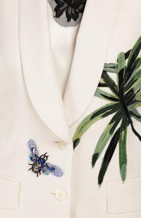 Приталенный жакет с шелковой аппликацией и декоративной отделкой Dolce & Gabbana белый | Фото №5