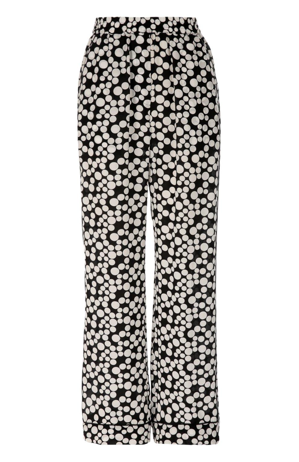 Шелковые прямые брюки в горошек с эластичным поясом  | Фото №1
