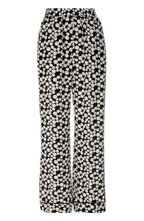 Шелковые прямые брюки в горошек с эластичным поясом  Dolce & Gabbana черно-белые | Фото №1