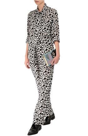 Шелковые прямые брюки в горошек с эластичным поясом  Dolce & Gabbana черно-белые | Фото №2
