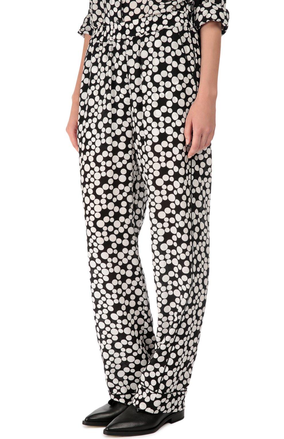Шелковые прямые брюки в горошек с эластичным поясом  Dolce & Gabbana черно-белые | Фото №3