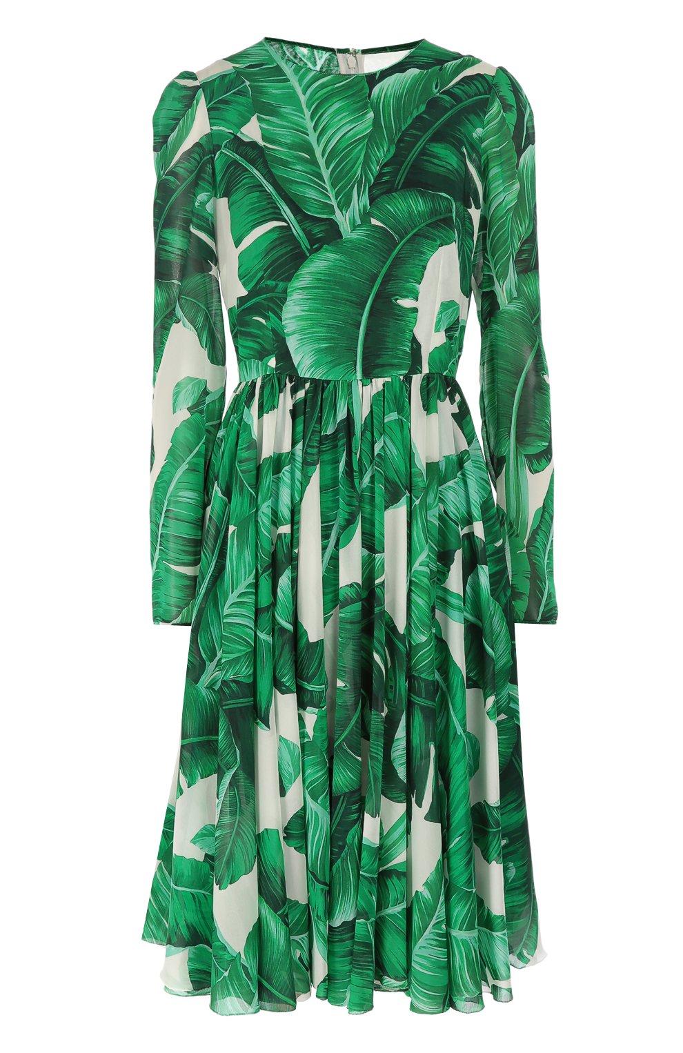 Приталенное шелковое платье с длинным рукавом и круглым вырезом | Фото №1