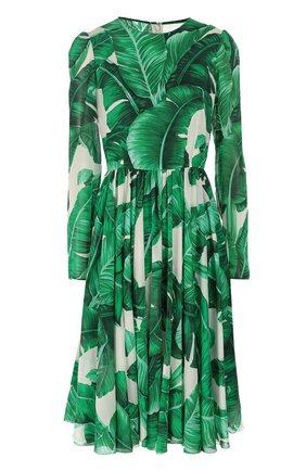 Приталенное шелковое платье с длинным рукавом и круглым вырезом Dolce & Gabbana зеленое | Фото №1