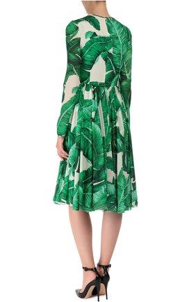 Приталенное шелковое платье с длинным рукавом и круглым вырезом Dolce & Gabbana зеленое | Фото №4