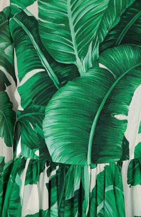Приталенное шелковое платье с длинным рукавом и круглым вырезом Dolce & Gabbana зеленое | Фото №5