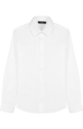 Детская хлопковая рубашка с воротником кент DAL LAGO белого цвета, арт. N402/7317/7-12 | Фото 1