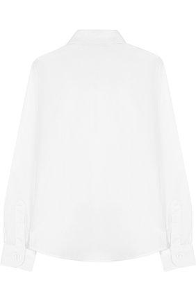 Детская хлопковая рубашка с воротником кент DAL LAGO белого цвета, арт. N402/7317/7-12 | Фото 2