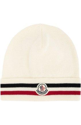 Мужская шерстяная шапка с контрастной отделкой MONCLER белого цвета, арт. B2-091-00328-00-02292 | Фото 1