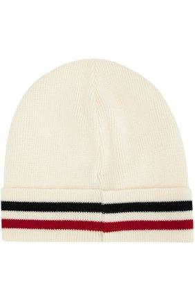 Мужская шерстяная шапка с контрастной отделкой MONCLER белого цвета, арт. B2-091-00328-00-02292 | Фото 2