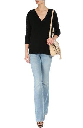 Пуловер свободного кроя с V-образным вырезом Raquel Allegra черный | Фото №1