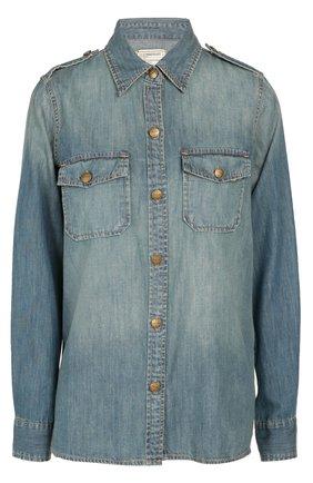 Джинсовая блуза прямого кроя с накладными карманами и погонами | Фото №1
