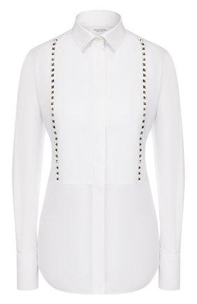 Женская хлопковая рубашка VALENTINO белого цвета, арт. LB3AB05U/1LW | Фото 1
