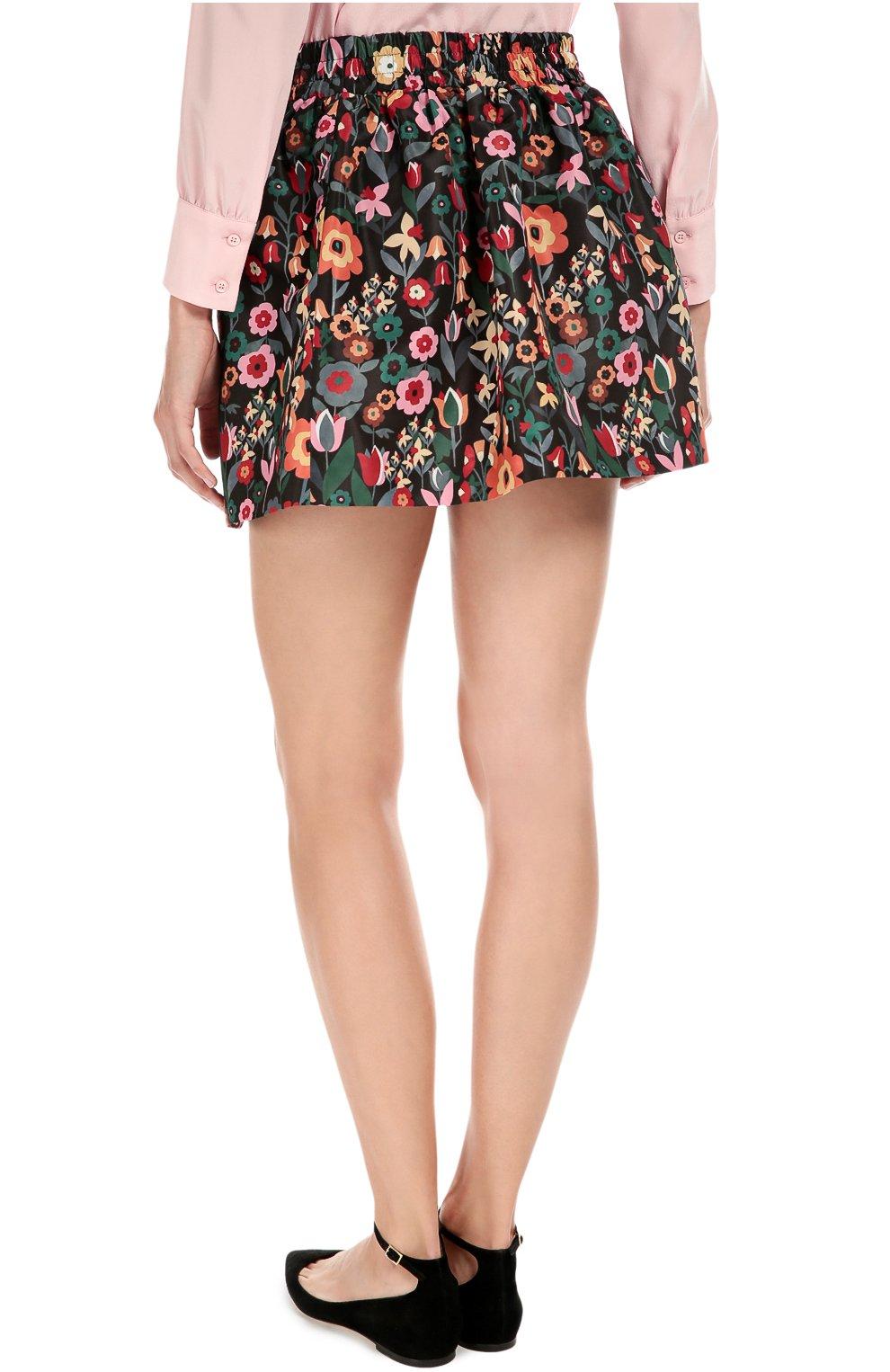Юбка-тюльпан с эластичным поясом и цветочным принтом REDVALENTINO разноцветная | Фото №4