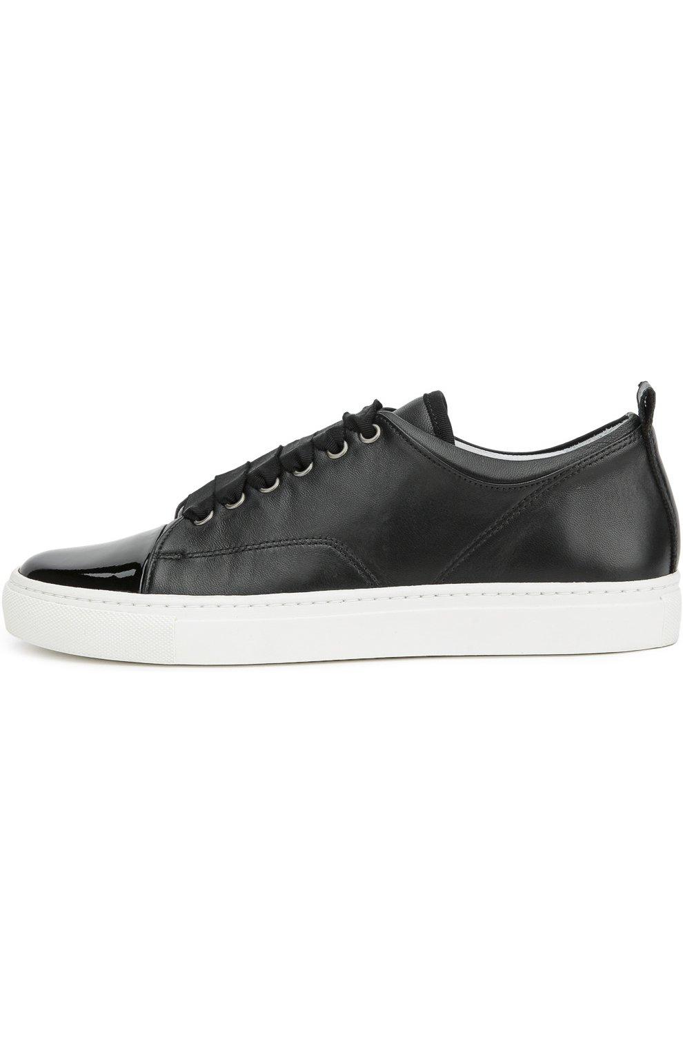 Женские черные кожаные кеды с лаковым мысом LANVIN — купить за 36550 ... 3842aef11ce