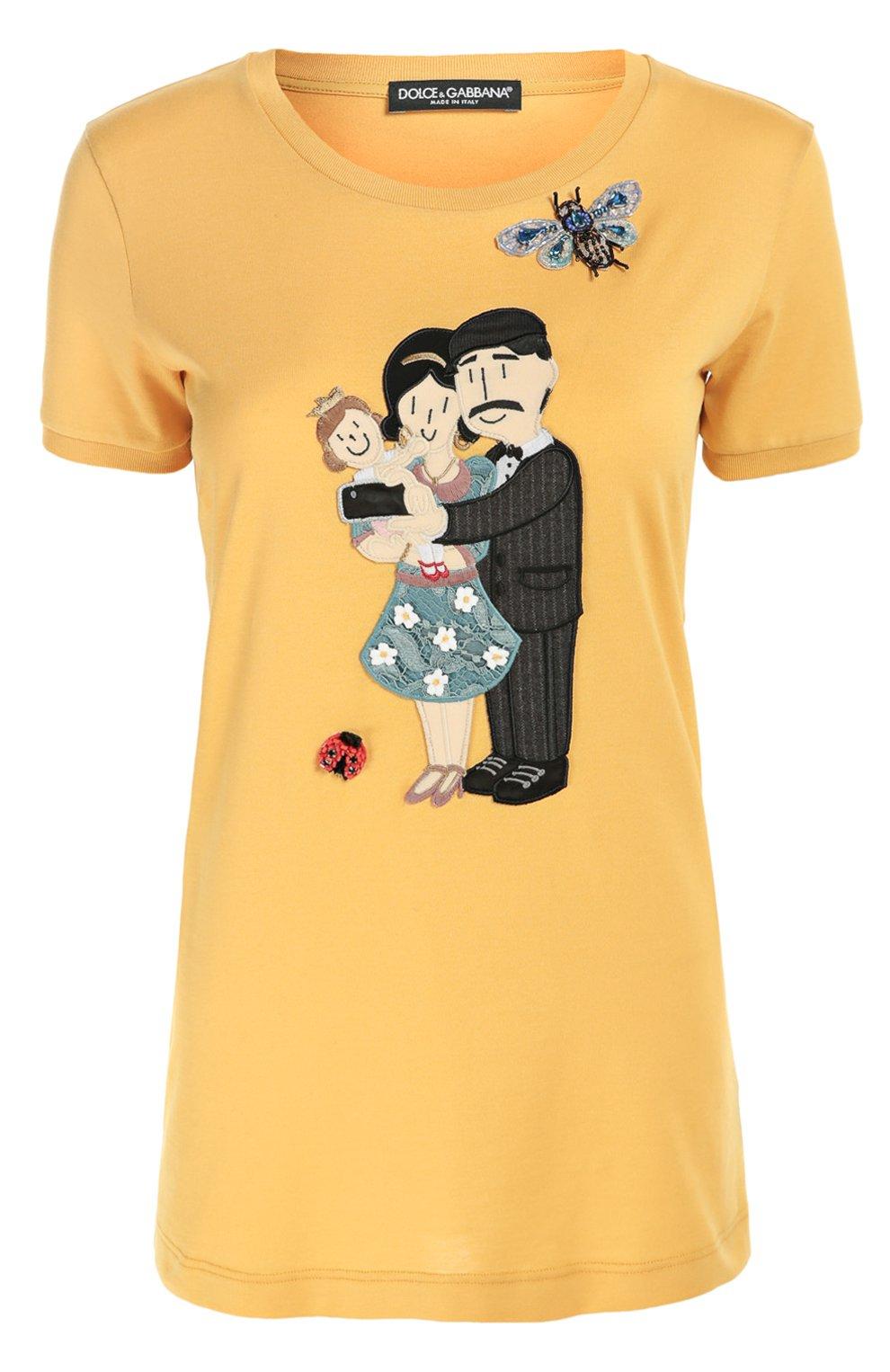 Удлиненная футболка с вышивкой и аппликацией | Фото №1