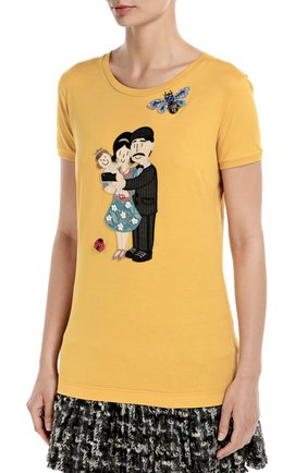 Удлиненная футболка с вышивкой и аппликацией | Фото №3