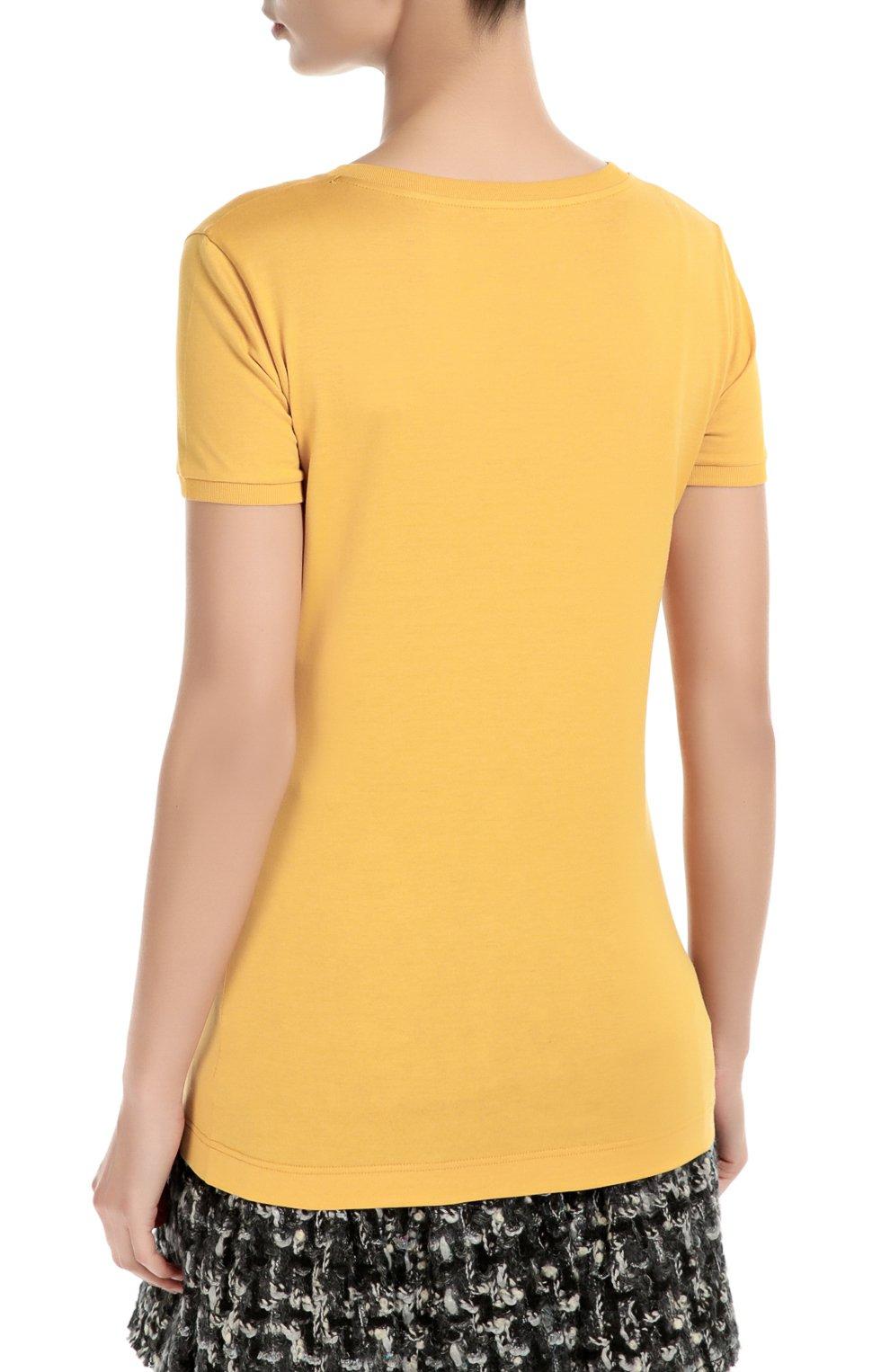 Удлиненная футболка с вышивкой и аппликацией | Фото №4