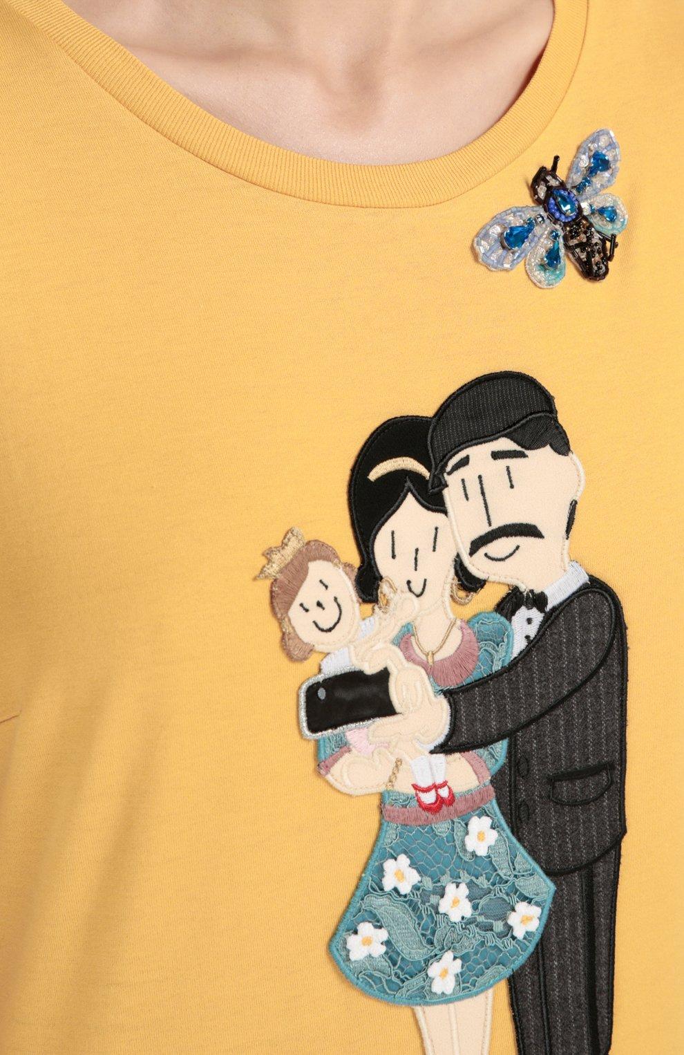 Удлиненная футболка с вышивкой и аппликацией | Фото №5